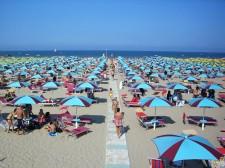 Narvaná pláž v Rimini