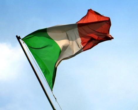 Italská vlajka v celé své kráse.